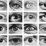Volker Hildebrandt, Augen Künstler, 2010, 16-teilig, Acryl auf Leinwand, je 30 x 40 cm
