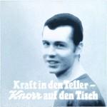Volker Hildebrandt, Beckenbauer Kraft in den Teller, 2005, Acryl auf Leinwand, 150 x 150 cm
