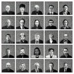 Volker Hildebrandt, Frankfurt Heads, 2000 und 2001, Acryl auf Leinwand, 25 Arbeiten, je 60 x 60 cm