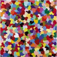 Volker Hildebrandt, Herzen 1, 2015, Acryl auf Leinwand, 100 x 100 cm