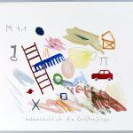 Volker Hildebrandt, nebensächlich die Größenfrage, 1989, Bleistift und Wasserfarbe, 30 x 40 cm