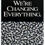 Volke Hildebrandt, We´re changing everything, 1992, Acryl auf Zeitung, 51 x 33 cm, 7 Unikate