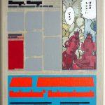Volker Hildebrandt, Kunstzeitung Comic, 1997-99,  Acryl auf Zeitung auf Leinwand,  47 x 33 cm