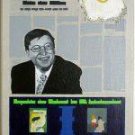 Volker Hildebrandt, Kunstzeitung Gates, 1997-99,  Acryl auf Zeitung auf Leinwand,  47 x 33 cm