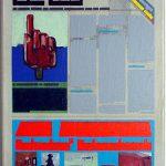 Volker Hildebrandt, Kunstzeitung Lüpertz, 1997-99,  Acryl auf Zeitung auf Leinwand,  47 x 33 cm