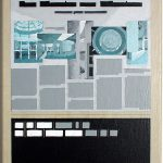 Volker Hildebrandt, Kunstzeitung München, 1997-99,  Acryl auf Zeitung auf Leinwand,  47 x 33 cm