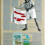 Volker Hildebrandt, Kunstzeitung Picasso, 1997-99,  Acryl auf Zeitung auf Leinwand,  47 x 33 cm