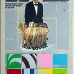 Volker Hildebrandt, Kunstzeitung Saatchi, 1997-99,  Acryl auf Zeitung auf Leinwand,  47 x 33 cm